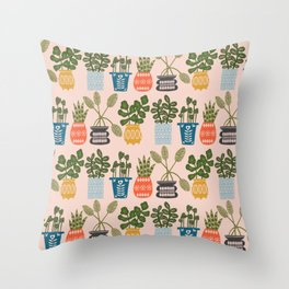 Plants in Pots Print Throw Pillow