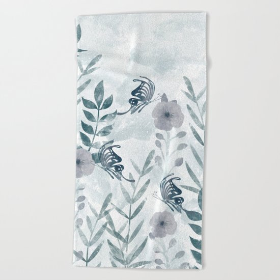 Watercolor floral garden II Beach Towel