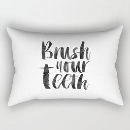 PRINTABLE Art,Brush Your Teeth,Bathroom Decor,Bathroom Sign,Kids Room Decor,Watercolor Print Rectangular Pillow