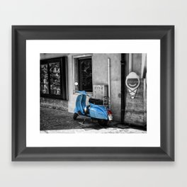 Blue Vespa in Venice Black and White Color Splash Photography Framed Art Print