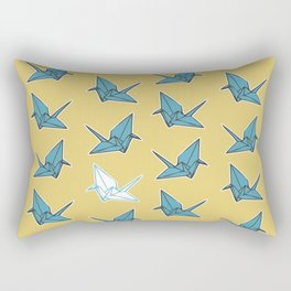 PAPER CRANES BABY BLUE AND YELLOW Rectangular Pillow
