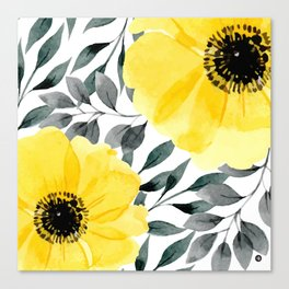 Big yellow watercolor flowers Canvas Print
