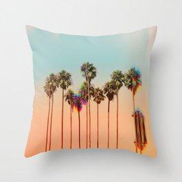 Glitch beach Throw Pillow