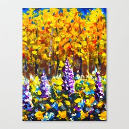 Painting Flowers in Golden Autumn Forest by Rybakow Canvas Print