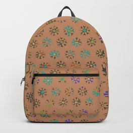 Terracotta tribal sun print, distressed faded weathered Backpack