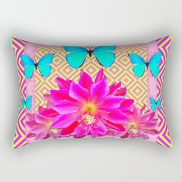 Pink on Pink Turquoise  Butterflies & Yellow Pattern Art Rectangular Pillow