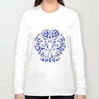 damask Long Sleeve T-shirts featuring Cat Damask by Vannina