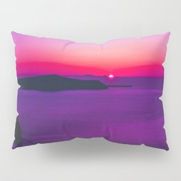 purple sunset in Fira Santorini Pillow Sham