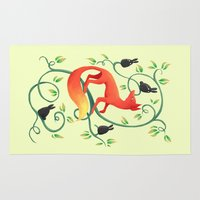 bunnies Area & Throw Rugs featuring Bunnies and a Fox by Freeminds