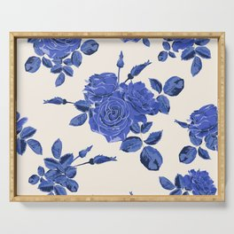 Seamless blue roses pattern Serving Tray