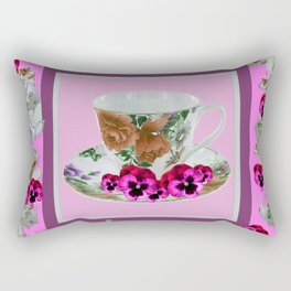 CERISE PANSY FLOWERS ANTIQUE TEA POTS & CUPS Rectangular Pillow