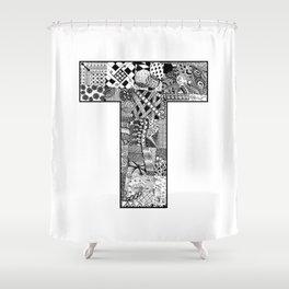 Cutout Letter T Shower Curtain