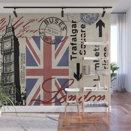London Great Britain Big Ben Flag Collage Wall Mural