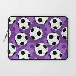 Football Pattern on Purple Background Laptop Sleeve