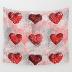 Heart Love red mixed media pattern Wall Tapestry