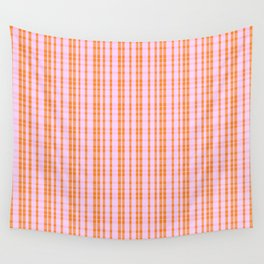 Orange and Pink Stripes - Plaid Wall Tapestry