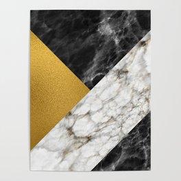Gold foil white black marble #4 Poster