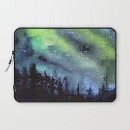Galaxy Nebula Watercolor Northern Lights Aurora Borealis Laptop Sleeve