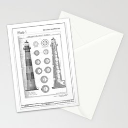 Vintage Bodie Island Lighthouse Diagram Stationery Cards