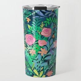 Roses + Green Messy Floral Posie Travel Mug