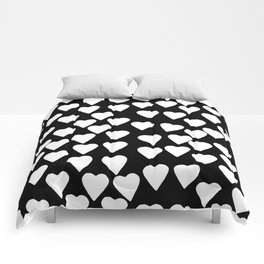 Hearts White on Black Comforters