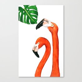 Two flamingos and a monstera leaf Canvas Print