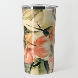 Watercolor Pitangas - Fruits in coral, light yellow and green Travel Mug