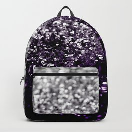 Dark Night Purple Black Silver Glitter #1 #shiny #decor #art #society6 Backpack
