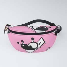 Hearts with Stitches - Black with Pink Fanny Pack