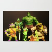 shrek Canvas Prints featuring It Aint Easy Being Green by Beastie Toyz