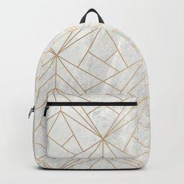 Gold Geometries on Marble Backpack