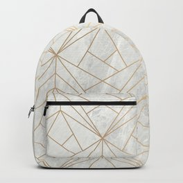 Gold Geometries on Marble Backpack