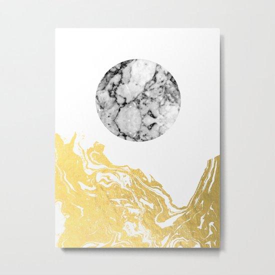 Bekke - abstract minimal white and gold modern art print canvas wall art for trendy urban minimalist Metal Print
