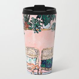 Two Chairs and a Napping Ginger Cat Metal Travel Mug