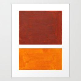 Burnt Sienna Yellow Ochre Rothko Minimalist Mid Century Abstract Color Field Squares Art Print