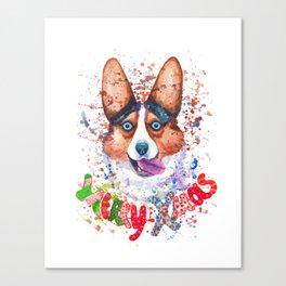 Merry Xmas corgi greetings Canvas Print