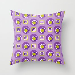 Shades of Purple with avocado green Throw Pillow