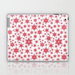 Red snowflakes on white. Laptop & iPad Skin