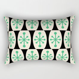Mid Century Modern Atomic Fusion Pattern 311 Green and Black Rectangular Pillow