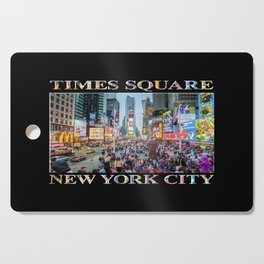 Times Square Tourists (on black) Cutting Board