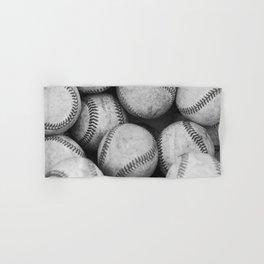Baseballs Black & White Graphic Illustration Design Hand & Bath Towel
