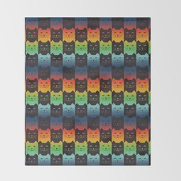 Ombre checker Cat Throw Blanket
