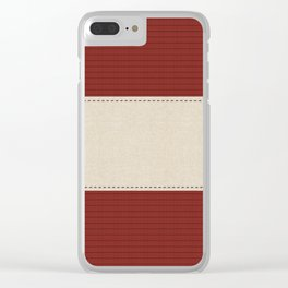 Cozy Warm Burgundy Red & Linen Stripes Clear iPhone Case