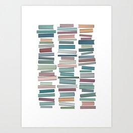 Books Pastel, Living Room Art, Book Worm Art Print