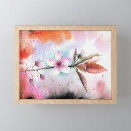 Decorative Peach Flower Bloom Watercolor Painting Framed Mini Art Print