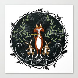 Fox & Rabbits with Lute Canvas Print