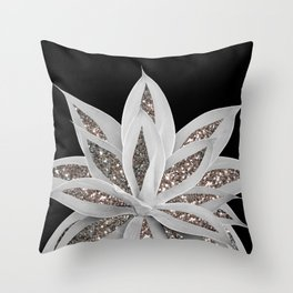 Gray Agave with Silver Glitter #1 #shiny #tropical #decor #art #society6 Throw Pillow