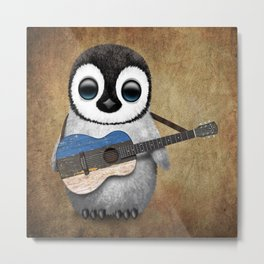 Baby Penguin Playing Estonian Flag Acoustic Guitar Metal Print