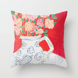 Delft Bird Pitcher on Red Background Throw Pillow