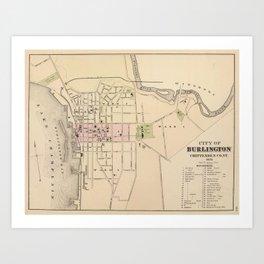 Vintage Map of Burlington Vermont (1873) Art Print